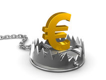 3d Gold Euro symbol in bear trap. 3d render of a bear trap with gold Euro symbol Stock Photography