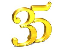 3D Gold fünfunddreißig auf weißem Hintergrund Stockbild