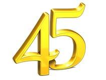 3D Gold fünfundvierzig auf weißem Hintergrund Lizenzfreie Stockfotografie