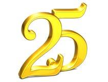 3D Gold fünfundzwanzig auf weißem Hintergrund Stockbilder