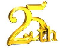 3D Gold fünfundzwanzigstes auf weißem Hintergrund Lizenzfreie Stockfotos