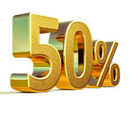 3d Gold 50 Fifty Percent Sign Stock Images