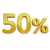 3d Gold 50 Fifty Percent Sign Stock Image