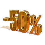 3d Gold 50 Fifty Percent Sign Royalty Free Stock Images