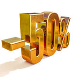 3d Gold 50 Fifty Percent Sign. Gold Sale 50%, Gold Percent Off Discount Sign, Sale Banner Template, Special Offer 50% Off Discount Tag, Fifty Percentages Up Stock Image