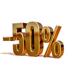 3d Gold 50 Fifty Percent Sign Royalty Free Stock Photography