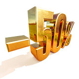 3d Gold 50 Fifty Percent Sign Stock Photography