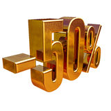 3d Gold 50 Fifty Percent Sign. Gold Sale 50%, Gold Percent Off Discount Sign, Sale Banner Template, Special Offer 50% Off Discount Tag, Fifty Percentages Up Royalty Free Stock Photos
