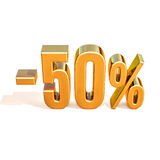 3d Gold 50 Fifty Percent Sign. Gold Sale 50%, Gold Percent Off Discount Sign, Sale Banner Template, Special Offer 50% Off Discount Tag, Fifty Percentages Up Royalty Free Stock Image