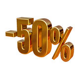 3d Gold 50 Fifty Percent Sign Stock Photo