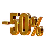 3d Gold 50 Fifty Percent Sign. Gold Sale 50%, Gold Percent Off Discount Sign, Sale Banner Template, Special Offer 50% Off Discount Tag, Fifty Percentages Up Royalty Free Stock Images