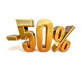 3d Gold 50 Fifty Percent Sign. Gold Sale 50%, Gold Percent Off Discount Sign, Sale Banner Template, Special Offer 50% Off Discount Tag, Fifty Percentages Up Stock Photography
