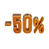 3d Gold 50 Fifty Percent Sign. Gold Sale 50%, Gold Percent Off Discount Sign, Sale Banner Template, Special Offer 50% Off Discount Tag, Fifty Percentages Up Stock Photos