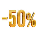 3d Gold 50 Fifty Percent Sign. Gold Sale 50%, Gold Percent Off Discount Sign, Sale Banner Template, Special Offer 50% Off Discount Tag, Fifty Percentages Up Stock Photo