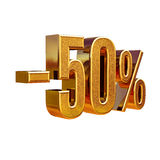 3d Gold 50 Fifty Percent Sign. Gold Sale 50%, Gold Percent Off Discount Sign, Sale Banner Template, Special Offer 50% Off Discount Tag, Fifty Percentages Up Royalty Free Stock Photo