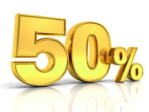 3D gold fifty percent or special offer 50% discount tag. Isolated over white background with shadow and reflection . 3D rendering Stock Photos
