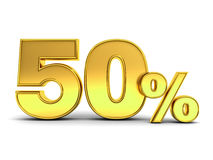 3D gold fifty percent or special offer 50% discount tag isolated over white Stock Photos