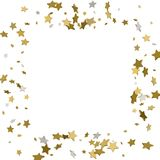 3d gold frame or border of random scatter golden stars on white. Background. Design element for festive banner, birthday and greeting card, postcard, wedding Royalty Free Stock Photo