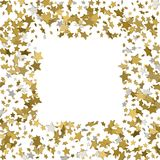 3d gold frame or border of random scatter golden stars on white. Background. Design element for festive banner, birthday and greeting card, postcard, wedding Royalty Free Stock Photography