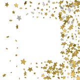 3d gold frame or border of random scatter golden stars on white. Background. Design element for festive banner, birthday and greeting card, postcard, wedding Stock Photo