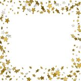 3d gold frame or border of random scatter golden stars on white. Background. Design element for festive banner, birthday and greeting card, postcard, wedding Royalty Free Stock Photos