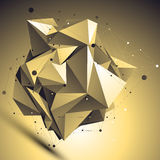 3D gold futuristic style abstract background, origami asymmetric Stock Photography