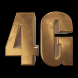 3D gold 4G icon on black Royalty Free Stock Images
