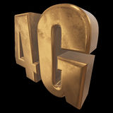 3D gold 4G icon on black Royalty Free Stock Photo