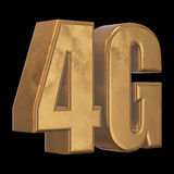3D gold 4G icon on black Royalty Free Stock Photography