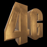 3D gold 4G icon on black Royalty Free Stock Photos