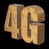 3D gold 4G icon on black Stock Photo