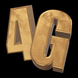 3D gold 4G icon on black. Gold 4G icon on black background. 3D render letters Stock Images