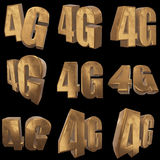 3D gold 4G icon on black. Gold 4G icon on black background. 3D render letters Royalty Free Stock Images