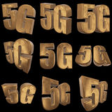 3D gold 5G icon on black. Gold 5G icon on black background. 3D render letters Stock Photo