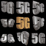 3D gold 5G icon on black. Gold 5G icon on black background. 3D render letters Royalty Free Stock Image