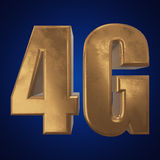 3D gold 4G icon on blue. Gold 4G icon on blue background. 3D render letters stock illustration