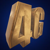 3D gold 4G icon on blue. Gold 4G icon on blue background. 3D render letters Royalty Free Stock Photography