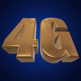 3D gold 4G icon on blue. Gold 4G icon on blue background. 3D render letters Stock Image