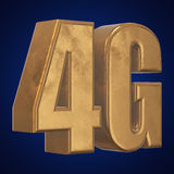 3D gold 4G icon on blue. Gold 4G icon on blue background. 3D render letters Stock Photo