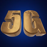 3D gold 5G icon on blue. Gold 5G icon on blue background. 3D render letters Royalty Free Stock Photo