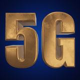 3D gold 5G icon on blue. Gold 5G icon on blue background. 3D render letters Royalty Free Stock Photos