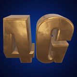 3D gold 4G icon on blue. Gold 4G icon on blue background. 3D render letters Stock Photography