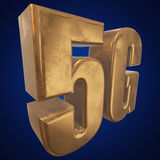 3D gold 5G icon on blue. Gold 5G icon on blue background. 3D render letters Stock Photography