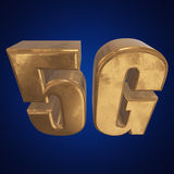 3D gold 5G icon on blue. Gold 5G icon on blue background. 3D render letters Royalty Free Stock Image
