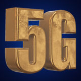 3D gold 5G icon on blue. Gold 5G icon on blue background. 3D render letters Royalty Free Stock Photography