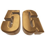 3D gold 5G icon on white Royalty Free Stock Images
