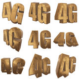 3D gold 4G icon on white. Gold 4G icon on white background. 3D render letters stock illustration