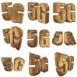 3D gold 5G icon on white. Gold 5G icon on white background. 3D render letters Stock Image
