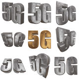 3D gold 5G icon on white. Gold 5G icon on white background. 3D render letters Stock Photography