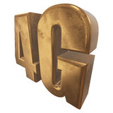 3D gold 4G icon on white. Gold 4G icon isolated on white background. 3D render letters royalty free illustration